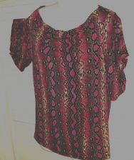 Buy Michael Kors Violet Top L Shirt Snakeskin Print Stretch Blouse Rayon Spandex L