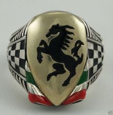 Buy Italian Black Stallion Gents Shield ring ster silver