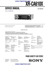 Buy Sony XR-CA610X v10 Service Manual by download Mauritron #327134