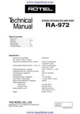 Buy Rotel RA-972 Manual by download Mauritron #325451