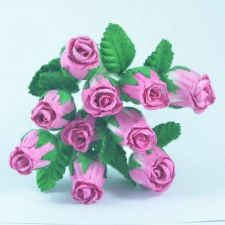 Buy 50 MULBERRY PAPER 2-TONE PINK HIP ROSEBUD ROSE LEAF FLOWERS DIA.1.3 cm/0.5 inch
