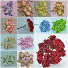 Buy 50 PIECES MULBERRY PAPER ROSEBUD ROSE HEAD FLOWERS DIA. 2 cm/ 0.8 inch CRAFT NEW