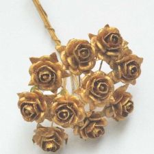 Buy 50 MULBERRY PAPER ARTIFICIAL ROSE HEAD FLOWERS METALLIC GOLD 15 mm./ 0.6 INCH