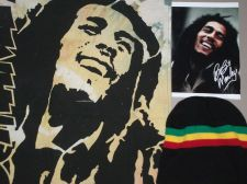 Buy Bob Marley on cotton Reggae pack. Extra bonus Muhamed Ali print. Also reggae hat