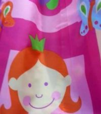 Buy SHOWER BATH CURTAIN MODERN GIRL PINK ANGEL PRINCESS WATERPROOF FABRIC 180*180