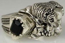 Buy White Bengal Tiger sterling silver Onyx ring