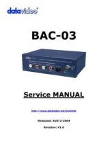 Buy Datavideo BAC-03 Service Manual by download Mauritron #324894