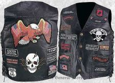 Buy Mens Black Buffalo Leather Motorcycle Vest Waistcoat with 23 Biker Patches Eagle