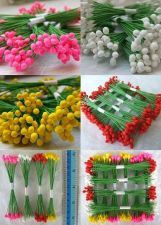 Buy ARTIFICIAL FLOWER POLLEN CRAFT WEDDING WITH WIRE STEM 100, 250 PCS. NEW
