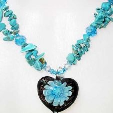 Buy HEART SHAPE BLUE FLORAL GLASS NECKLACE