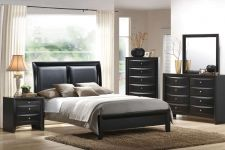 Buy Queen Bedroom Set 4 Pieces Queen Bedroom Furniture Black Faux Leather HeadBoard