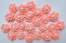 Buy 20 ORANGE CROCHET FLOWER PEARL APPLIQUE ARTIFICIAL SEWING CRAFT HANDMADE WEDDING