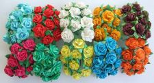 Buy 100 ARTIFICIAL MULBERRY PAPER ROSE FLOWER WEDDING CRAFT SCRAPBOOK 1.5 CM. MIXED