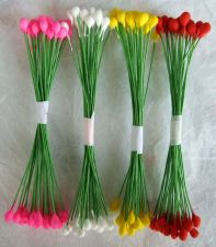 Buy LOTS 1000 POLLEN FLOWER CRAFT ARTIFICIAL SCRAPBOOK FLORAL ROUND WIRE STEM CARD