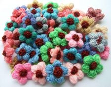 Buy 50 MIXED CROCHET FLOWER HANDMADE APPLIQUE ARTIFICIAL SEWING CRAFT WHOLESALE LOT