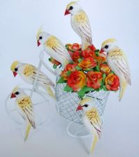 Buy CUTE WHITE WOODPECKER BIRDS ARTIFICIAL TINY CRAFT DIY DECORATE FLORAL DOLLHOUSE
