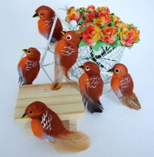 Buy CUTE BROWN BIRDS ARTIFICIAL MINI TINY CRAFT DIY DECORATIVE FLORAL DOLLHOUSE NEW