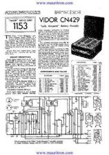 Buy VIDOR. CN429 Vintage. Service Sheets. by download Mauritron #315274