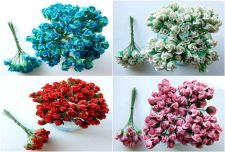 Buy 100 MULBERRY PAPER FLOWERS ROSE EMBELLISHMENT ARTIFICIAL SCRAPBOOK WEDDING MINI