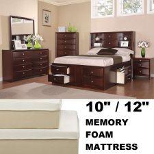 Buy Queen Platform Bed with Memory Foam Mattress Modern Queen Bedroom Set 6 Drawers