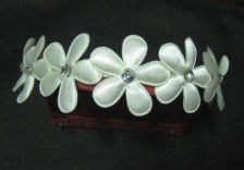 Buy THAI HAIR HEADBAND WHITE FLOWER WEDDING FLEXIBLE STEEL FABRIC JEWEL DECORATE