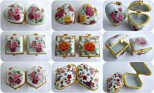 Buy PORCELAIN BOX 2 JEWELRY RING TRINKET MINI COLLECTIBLE VINTAGE PAINTING DECORATED