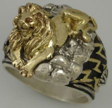 Buy New York 42nd street Library Guardian LION Mens ring Sterling Silver Lge