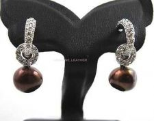 Buy CHOCOLATE NATURAL PEARL EARRING & WHITE CZ STERING 925 SILVER PLATINUM JEWELRY