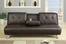 Buy Sunset Expresso Faux Leather Futon Adjustable Sofa Bed w/ Fold-down Cup Holders