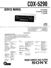 Buy Sony CDX-5290Service Manual by download Mauritron #316304