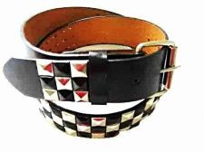 Buy LEATHER BELT ~3 pyramid belt with roller buckle and snaps to change the buckle