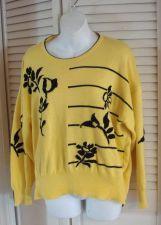 Buy Escada Margaretha Ley 40 Sweater Lemon Yellow Black Artsy Crew Neck Sweater 40
