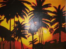 Buy Sunset Beach Painting on canvas ready to hang. finished off by hand. original
