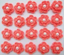 Buy 20 CROCHET FLOWER PEARL APPLIQUE ARTIFICIAL SEWING CRAFT HANDMADE COLOR ORANGE