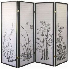 Buy 4-panel Black Bamboo Style Design Room Divider Privacy Screen Adds Nice Touch