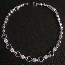 Buy THAI BEAUTIFUL BRACELET WHITE GEMS & HEART TITANIUM THAI CRAFTSMANSHIP HANDCRAFT