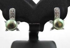Buy GREEN NATURAL PEARL EARRING & WHITE CZ STERING 925 SILVER NEW PLATINUM JEWELRY