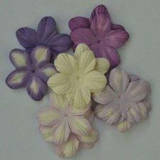 """Buy 100 MIXED MULBERRY PAPER PETAL ARTIFICIAL FLOWERS PURPLE TONE COLOR 3.8 cm/1.5"""""""