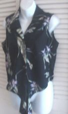 Buy Tommy Bahama Sleeveless Blouse M Cropped Tie Closure Black Floral 100% Silk M