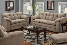 Buy Simmons Sofa & Loveseat 2 Piece Living room Set Microfiber Couch POUNDEX #F7819B