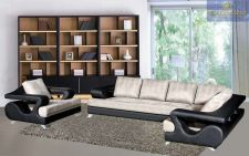 Buy Dove grey Black sofa couch Modern Sectional couch Fabric Leather Living room set