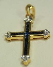 Buy VINTAGE FINE 18K YELLOW GOLD REAL BLUE SAPPHIRE & DIAMOND CROSS PENDANT GEMSTONE