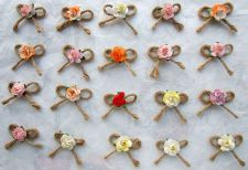 Buy 25 MIXED MULBERRY ROSE BOWS ROPE CRAFT ARTIFICIAL EMBELLISHMENT APPLIQUE WEDDING