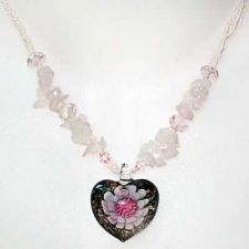 Buy HEART SHAPE PINK FLORAL GLASS NECKLACE