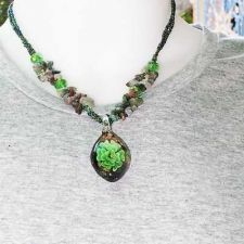 Buy OVAL SHAPE GREEN FLORAL GLASS NECKLACE