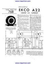 Buy EKCO A22 Service Sheets Set by download Mauritron #326454