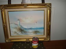 Buy Oil Painting Seagulls Seascape Lighthouse Gold Gilt Wood Framed 22x18 Signed
