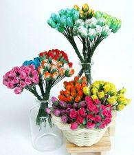 Buy 100 MIXED MULBERRY PAPER MINI ROSE FLOWER EMBELLISH ARTIFICIAL SCRAPBOOK WEDDING