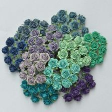 Buy 100 MIXED MULBERRY PAPER ARTIFICIAL ROSE FLOWER 15 mm/0.6 INCH BLUE/GREEN/PURPLE