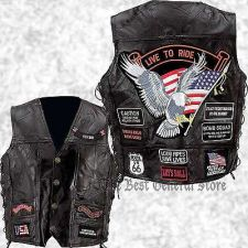 Buy Mens Black Buffalo Leather Motorcycle Vest Waistcoat with 14 Biker Patches Eagle